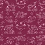 Strawberry jam seamless pattern Stock Images