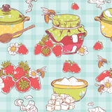 Strawberry jam seamless pattern Royalty Free Stock Images