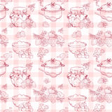 Strawberry jam seamless pattern Stock Photography
