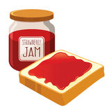 Strawberry Jam Spread on a Bread Stock Image