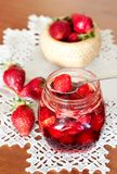 Strawberry jam and  strawberries Royalty Free Stock Photos
