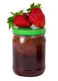Strawberry jam and strawberry berries. Isolated Royalty Free Stock Photography