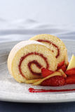 Strawberry Jam Swiss Roll Stock Photo