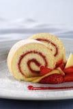 Strawberry Jam Swiss Roll Stock Photo