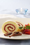 Strawberry Jam Swiss Roll Royalty Free Stock Photography