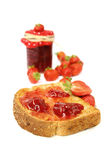 Strawberry jam on toast Royalty Free Stock Photography