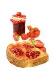 Strawberry jam on toast Royalty Free Stock Photography