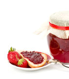 Strawberry jam and toast Royalty Free Stock Photography
