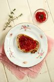 Strawberry jam on toast Royalty Free Stock Image