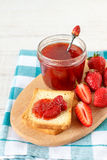 Strawberry jam and toast bread Stock Image