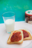 Strawberry jam toast and a glass of milk Stock Image