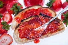 Strawberry Jam on Toast Stock Image
