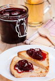 Strawberry jam on toasts. Stock Images