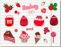 Strawberry and Jam Vector Set Royalty Free Stock Image