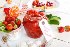 Strawberry jam with white chocolate Stock Photo