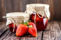 Strawberry jam on a wooden Stock Photography