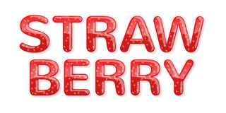 Strawberry jam word. Glossy letters Royalty Free Stock Photography