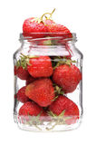 Strawberry in jar Royalty Free Stock Images