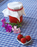 Strawberry and jar of the strawberry cooking Royalty Free Stock Photo