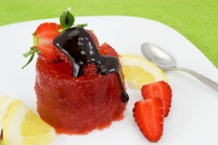 Strawberry jelly with chocolate icing Stock Photo