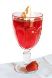 Strawberry jelly with cream Stock Images