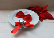 Strawberry jelly in the form of heart on Valentine's Day Royalty Free Stock Photo