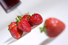 Strawberry juice. Red strawberry on white background Royalty Free Stock Photo