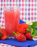 Strawberry juice checkered napkin Stock Photos