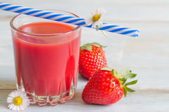Strawberry juice with daisy spring fresh concept Royalty Free Stock Photo