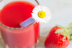 Strawberry juice with daisy spring fresh concept Stock Photo