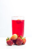 Strawberry juice drinks in glass isolated on white background Royalty Free Stock Photography