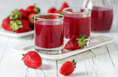 Strawberry juice. Fresh cool strawberry juice, selective focus Stock Photo