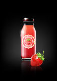 Strawberry juice in a glass bottle for design advertisement and vintage logo, fruit, transparent, Vector Royalty Free Stock Image