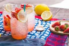Strawberry juice and lemon soda juice mixed with soda. Add flavo. R Improve the health of the body can do at home. Juice on empty days Or party Royalty Free Stock Images