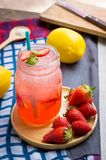 Strawberry juice and lemon soda juice mixed with soda. Add flavo. R Improve the health of the body can do at home. Juice on empty days Or party Stock Image