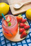 Strawberry juice and lemon soda juice mixed with soda. Add flavo. R Improve the health of the body can do at home. Juice on empty days Or party Royalty Free Stock Photography