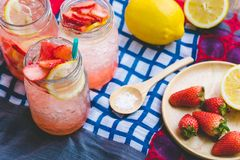 Strawberry juice and lemon soda juice mixed with soda. Add flavo Royalty Free Stock Photography