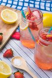 Strawberry juice and lemon soda juice mixed with soda. Add flavo. R Improve the health of the body can do at home. Juice on empty days Or party Royalty Free Stock Photo