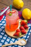 Strawberry juice and lemon soda juice mixed with soda. Add flavo. R Improve the health of the body can do at home. Juice on empty days Or party Stock Photo