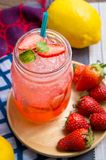 Strawberry juice and lemon soda juice mixed with soda. Add flavo. R Improve the health of the body can do at home. Juice on empty days Or party Stock Images