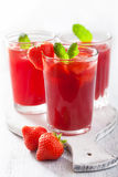 Strawberry juice with mint. summer drink Royalty Free Stock Photos