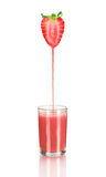 Strawberry juice pouring Royalty Free Stock Image