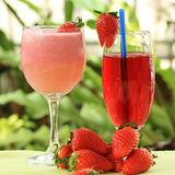 Strawberry juice and smoothie Stock Image