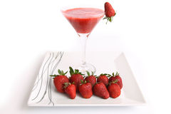 Strawberry juice with strawberries Royalty Free Stock Photography