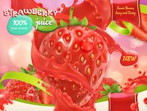 Strawberry juice. Sweet fruits and berries. 3d vector Stock Photo