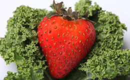 Strawberry and kale isolated on white. Stock Photo