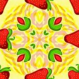 Strawberry kaleidoscope. Seamless vector texture. Vector pattern. Royalty Free Stock Photo