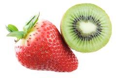 Strawberry and Kiwi. Strawberry and sliced kiwi isolated on white Stock Images