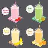 Strawberry Kiwi Banana Orange Juice Fruit Smoothie Cartoon Vector Royalty Free Stock Photos