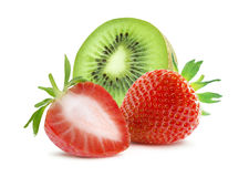 Strawberry and kiwi composition  on white background Royalty Free Stock Photography